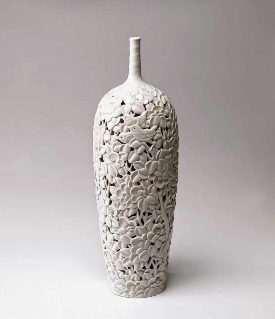 open vessel with flowers