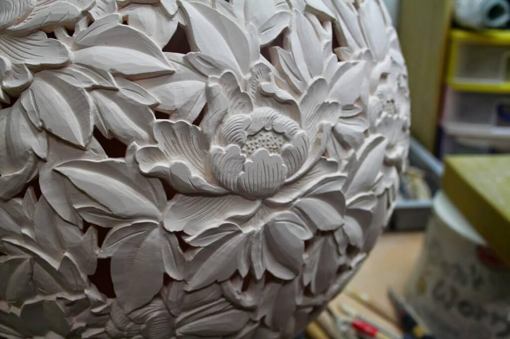 open vessel freshly carved